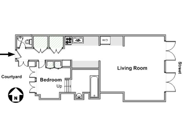 Paris 1 Bedroom accommodation - apartment layout  (PA-3155)
