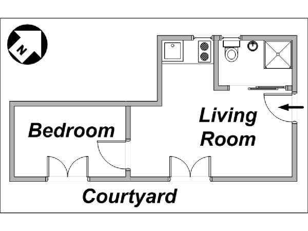 Paris 1 Bedroom apartment - apartment layout  (PA-3185)