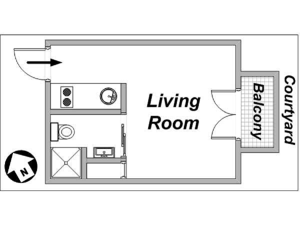 Paris Studio apartment - apartment layout  (PA-3226)
