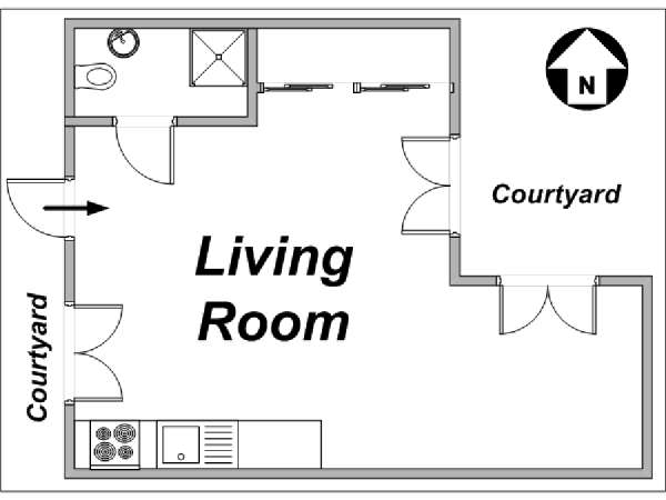 Paris Alcove Studio accommodation - apartment layout  (PA-3239)