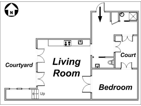 Paris 1 Bedroom apartment - apartment layout  (PA-3254)