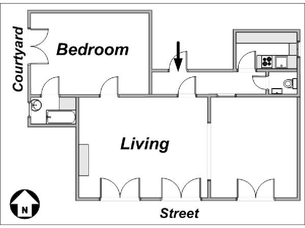 Paris 1 Bedroom accommodation - apartment layout  (PA-3276)
