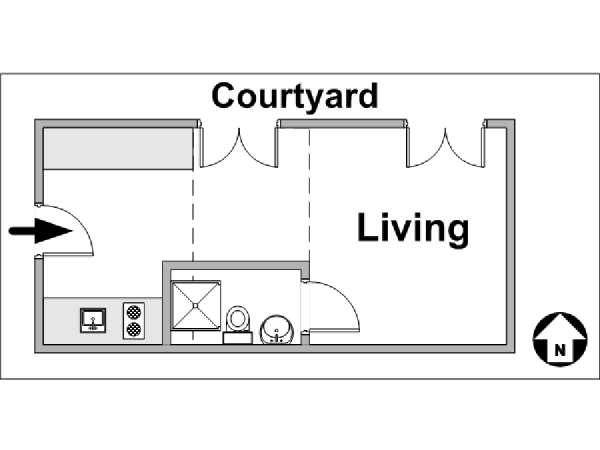 Paris Studio apartment - apartment layout  (PA-3297)
