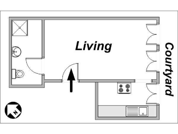 Paris Studio T1 logement location appartement - plan schématique  (PA-3326)