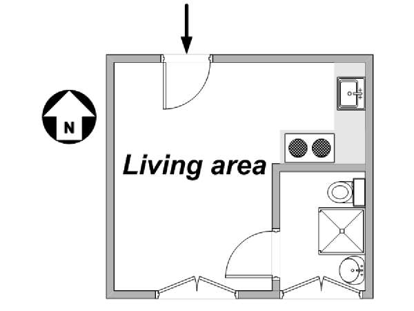 Paris Studio apartment - apartment layout  (PA-3361)