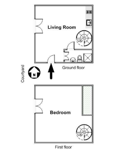 Paris T2 - Duplex logement location appartement - plan schématique  (PA-3379)