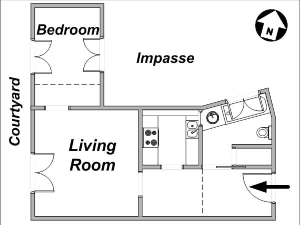 Paris 1 Bedroom apartment - apartment layout  (PA-3394)
