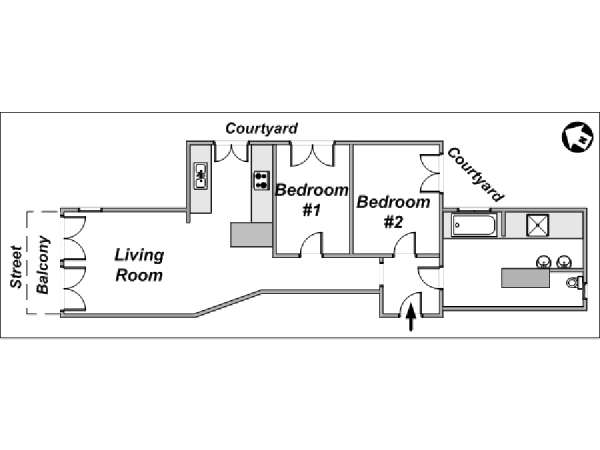 Paris 2 Bedroom accommodation - apartment layout  (PA-3441)