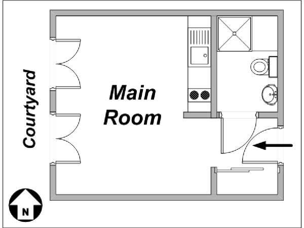 Paris Studio apartment - apartment layout  (PA-3449)