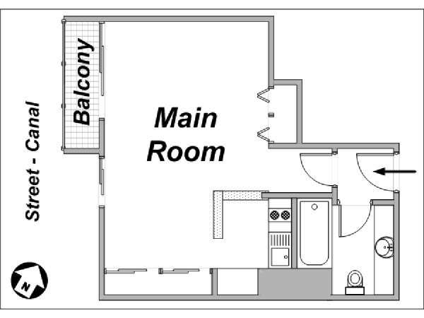 Paris Studio T1 logement location appartement - plan schématique  (PA-3533)