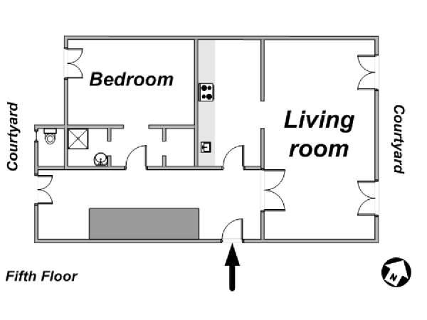 Paris 1 Bedroom apartment - apartment layout  (PA-3554)