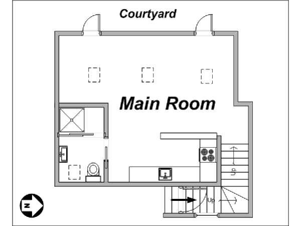 Paris Studio apartment - apartment layout  (PA-3562)