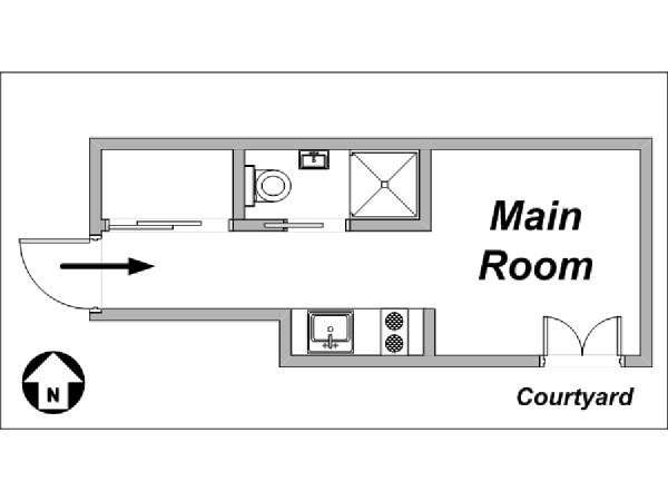 Paris Studio apartment - apartment layout  (PA-3563)