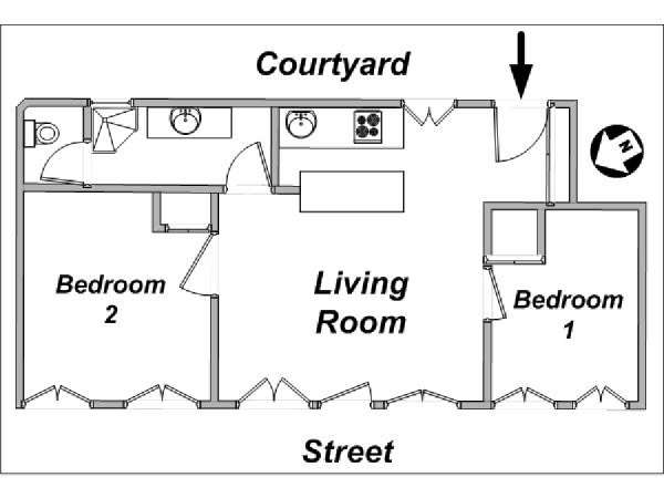 Paris 2 Bedroom apartment - apartment layout  (PA-3586)
