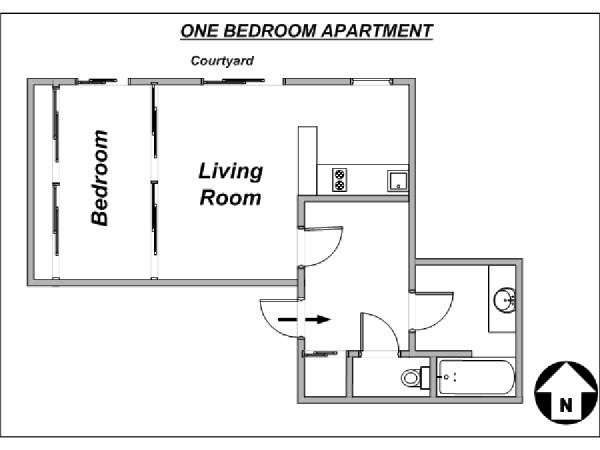 Paris T2 logement location appartement - plan schématique  (PA-3639)