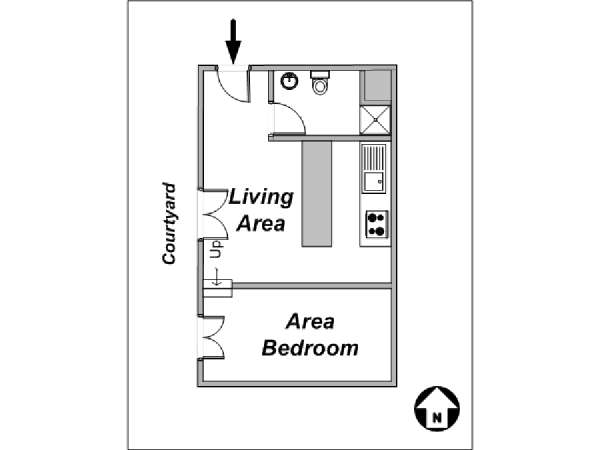 Paris Studio accommodation - apartment layout  (PA-3666)