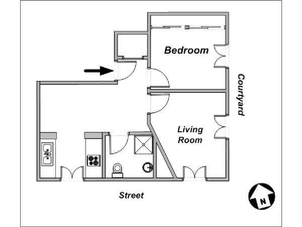 Paris 1 Bedroom apartment - apartment layout  (PA-3784)