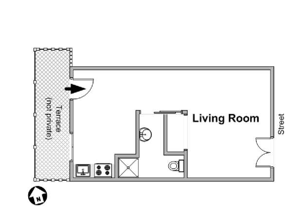 Paris Studio accommodation - apartment layout  (PA-3786)