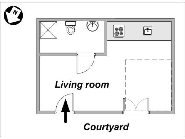 Paris Studio T1 logement location appartement - plan schématique  (PA-3794)