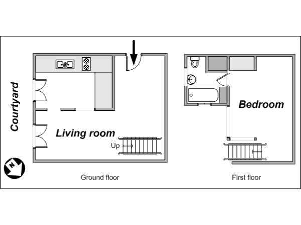 Paris Alcove Studio - Duplex apartment - apartment layout  (PA-3804)