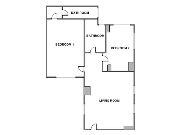 Paris 2 Bedroom apartment - apartment layout  (PA-3815)