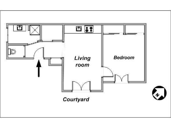 Paris 1 Bedroom apartment - apartment layout  (PA-3839)