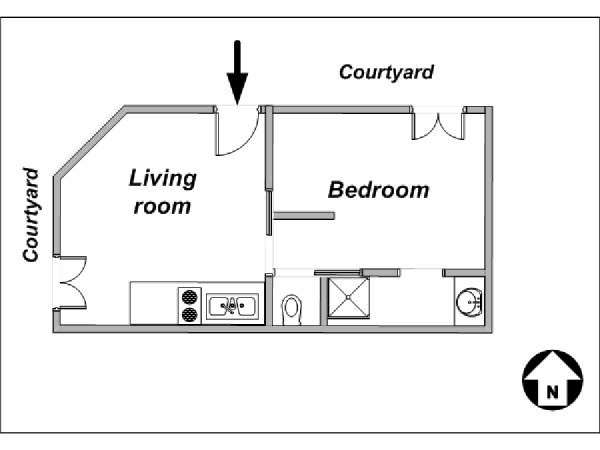 Paris 1 Bedroom accommodation - apartment layout  (PA-3853)