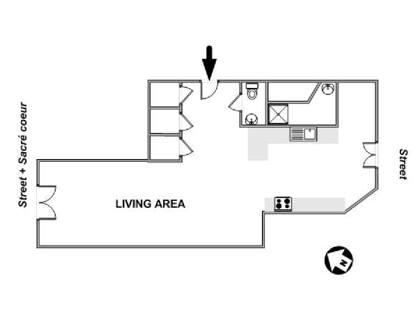 Paris Alcove Studio apartment - apartment layout  (PA-3863)