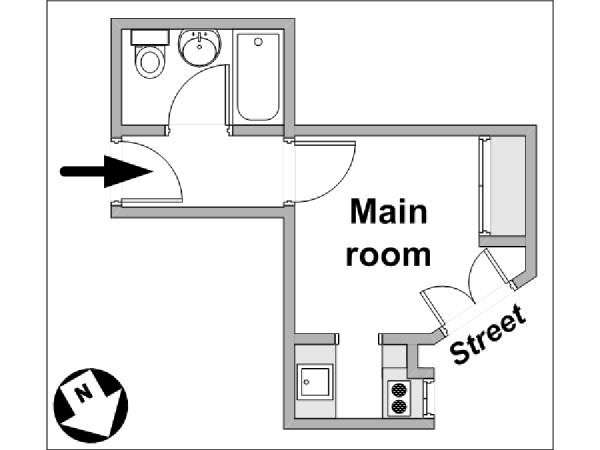 Paris Studio apartment - apartment layout  (PA-3926)