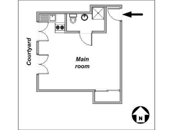 Paris Studio apartment - apartment layout  (PA-3928)