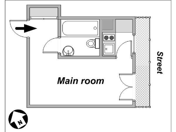 Paris Studio apartment - apartment layout  (PA-4029)