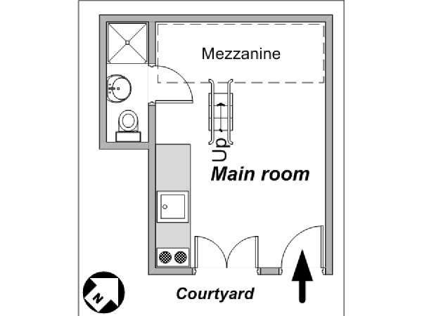 Paris Studio apartment - apartment layout  (PA-4042)