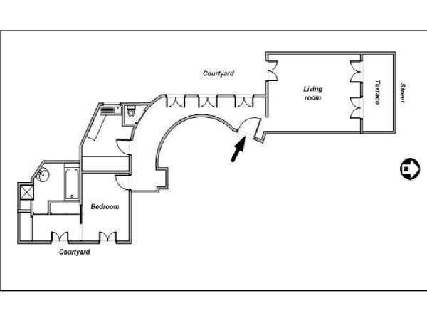 Paris 1 Bedroom apartment - apartment layout  (PA-4043)