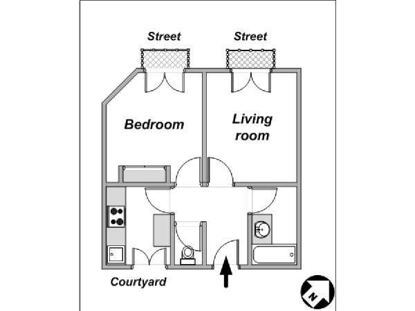 Paris 1 Bedroom accommodation - apartment layout  (PA-4044)