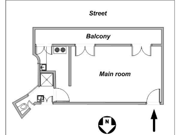 Paris Studio apartment - apartment layout  (PA-4116)