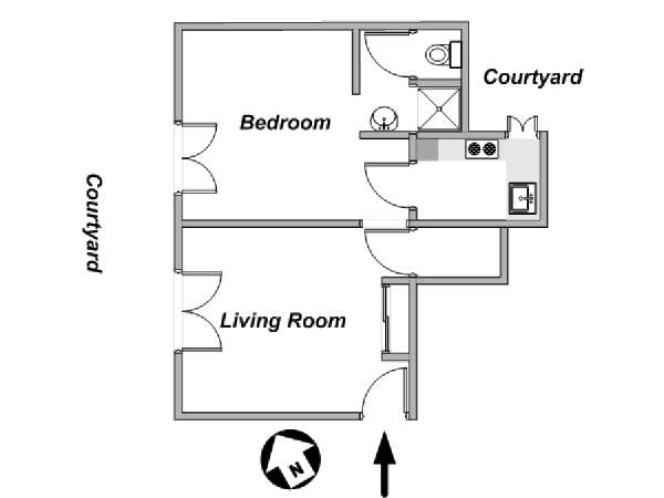 Paris 1 Bedroom accommodation - apartment layout  (PA-4124)