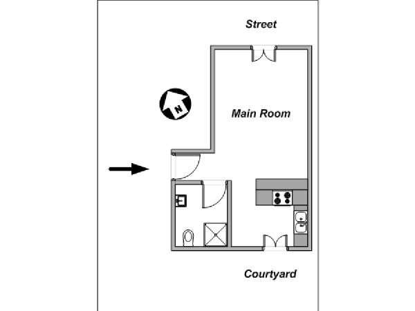 Paris Studio apartment - apartment layout  (PA-4131)