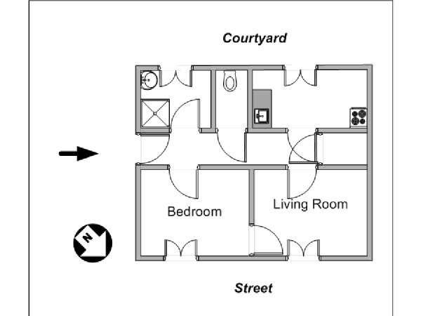 Paris 1 Bedroom accommodation - apartment layout  (PA-4142)