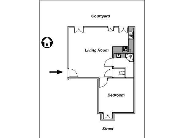 Paris 1 Bedroom apartment - apartment layout  (PA-4147)