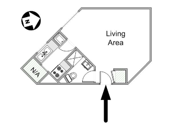 Paris Studio apartment - apartment layout  (PA-4211)