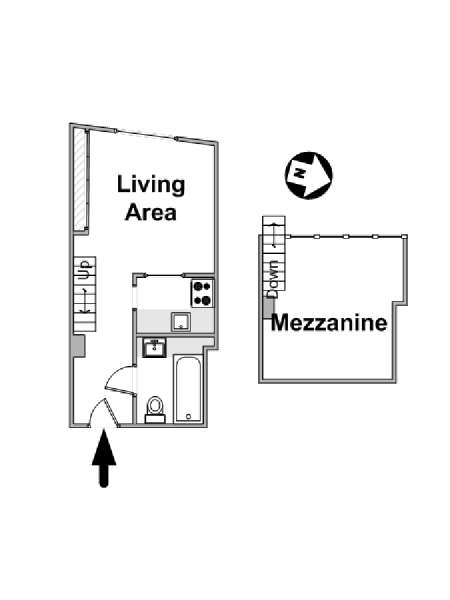 Paris Alcove Studio accommodation - apartment layout  (PA-4319)