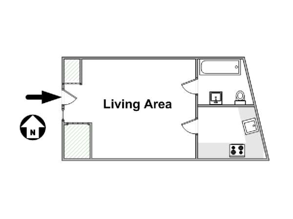 Paris Studio apartment - apartment layout  (PA-4326)