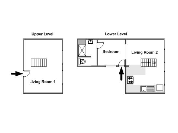 Paris 1 Bedroom - Duplex apartment - apartment layout  (PA-4345)
