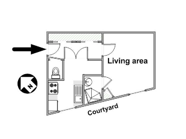Paris Studio apartment - apartment layout  (PA-4364)