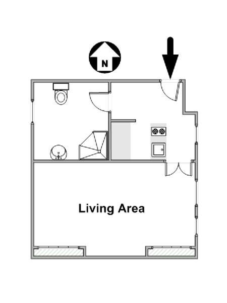 Paris Studio T1 logement location appartement - plan schématique  (PA-4370)