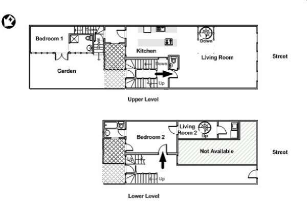 Paris 2 Bedroom - Duplex accommodation - apartment layout  (PA-4375)
