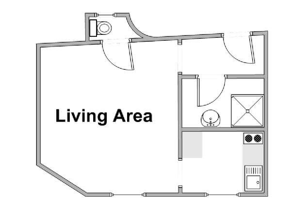 Paris Studio apartment - apartment layout  (PA-4385)