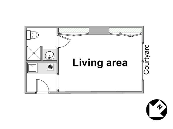 Paris Studio apartment - apartment layout  (PA-4441)