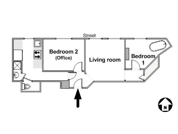 Paris 2 Bedroom accommodation - apartment layout  (PA-4443)