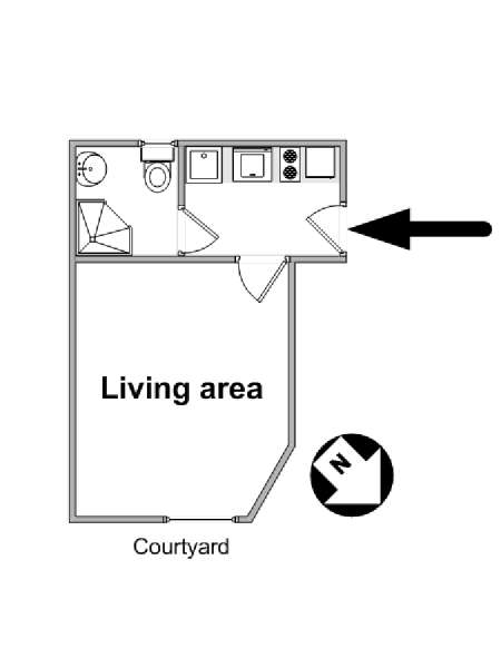 Paris Studio apartment - apartment layout  (PA-4510)
